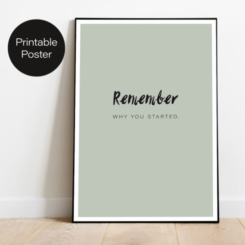 Poster - Remember why you started